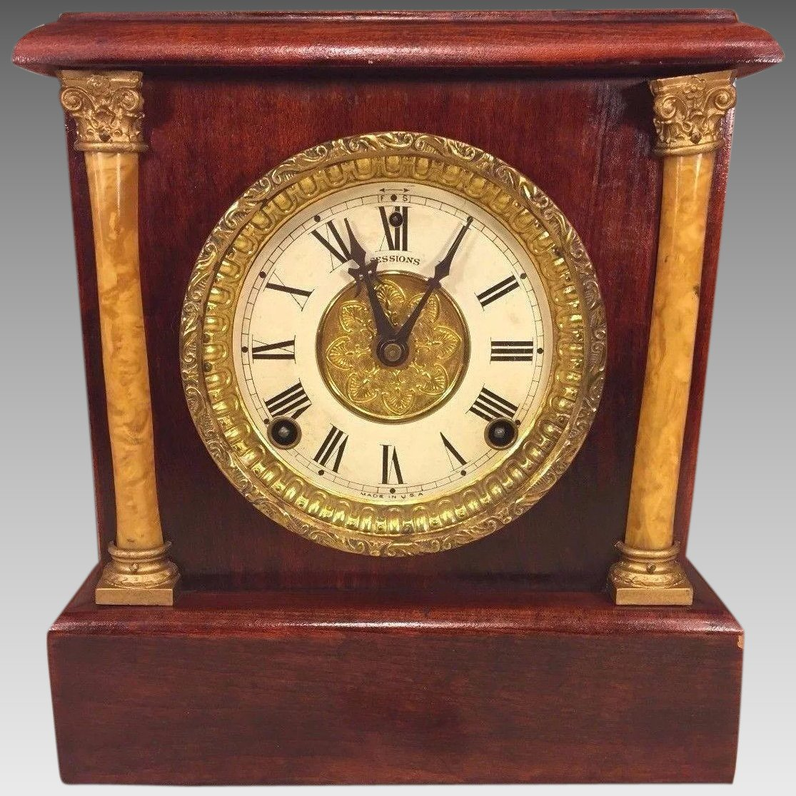 Antique Sessions Mantel Clock Wood Case w/ Beautiful Graining Not ...
