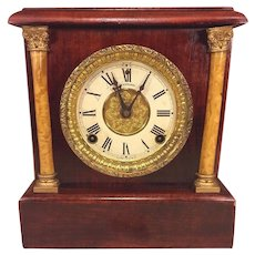 Antique Sessions Mantel Clock Wood Case w/ Beautiful Graining Not Running
