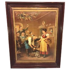 Vintage Manz Brewing Company Lithograph in Antique Wood Frame with Shingle Back  Sackett & Wilhelms Litho Co, New York