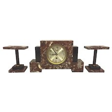 Vintage German Art Deco Clock Set Time Only Runs Marble Case & Garnitures Circa 1930s