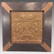 Vintage Molded Copper Plaque Crest with Wood Frame Lions Candestick and Crown Images
