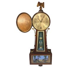 Antique New Haven Winsome Model Time Only Clock Runs Brass Side Rails