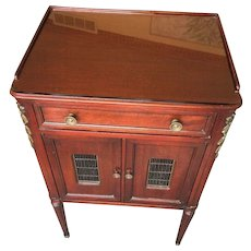 Vintage John Widdicomb French Empire Mahogany Night Stand Drawer Open Body w/ Drawer & Cabinet Brass Trim Fluted Legs #1 of 2