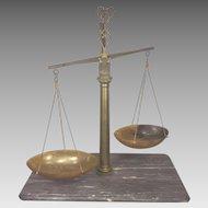 Antique Italian Stone Brass & Horn Balance Scale with Marble Slab Base Bartolomeo Greppi of Milan Italy Early 1800s