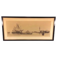 Antique Lithograph of Venice Italy Captures St Marks Cathedral and the Palace of Doges, Gondola Sail Boats Signed by MB Mark