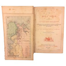 Small Antique 1873 Holy Bible with Brass Corners and Hinges Colored Maps Gold Gilt Side Pages Previous Owner Yoitsu Honda