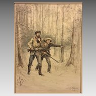 Joseph De La Harpe  Watercolor Painting (American School, 19th Century) Two Hunters in the Woods Signed and Dated by Artist 1884  Beautiful Gold Plaster Frame