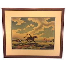 Vintage Famous Print of Horse Giving 2 Fellows a Rough Ride Thru a Field '44