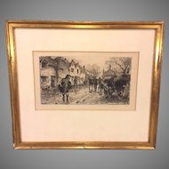 "Vintage William B Hole Etching Matted & Framed Entitled ""A Straggler of the Chevalier's Army"""
