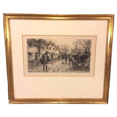 """Vintage William B Hole Etching Matted & Framed Entitled """"A Straggler of the Chevalier's Army"""""""