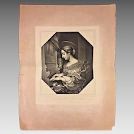 The Holy Cecilia after Carlo Dolci Painting Stamp of Dresden Gallery
