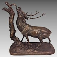 Antique Patinated Spelter Elk/Stag Feeding on Tree Unmarked Great Detailing