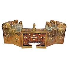 Vintage Middle Eastern Brass and Mica and Bras Inlaid Wood Shoe Shine Stand w/ Glass Bottles and Locking Door
