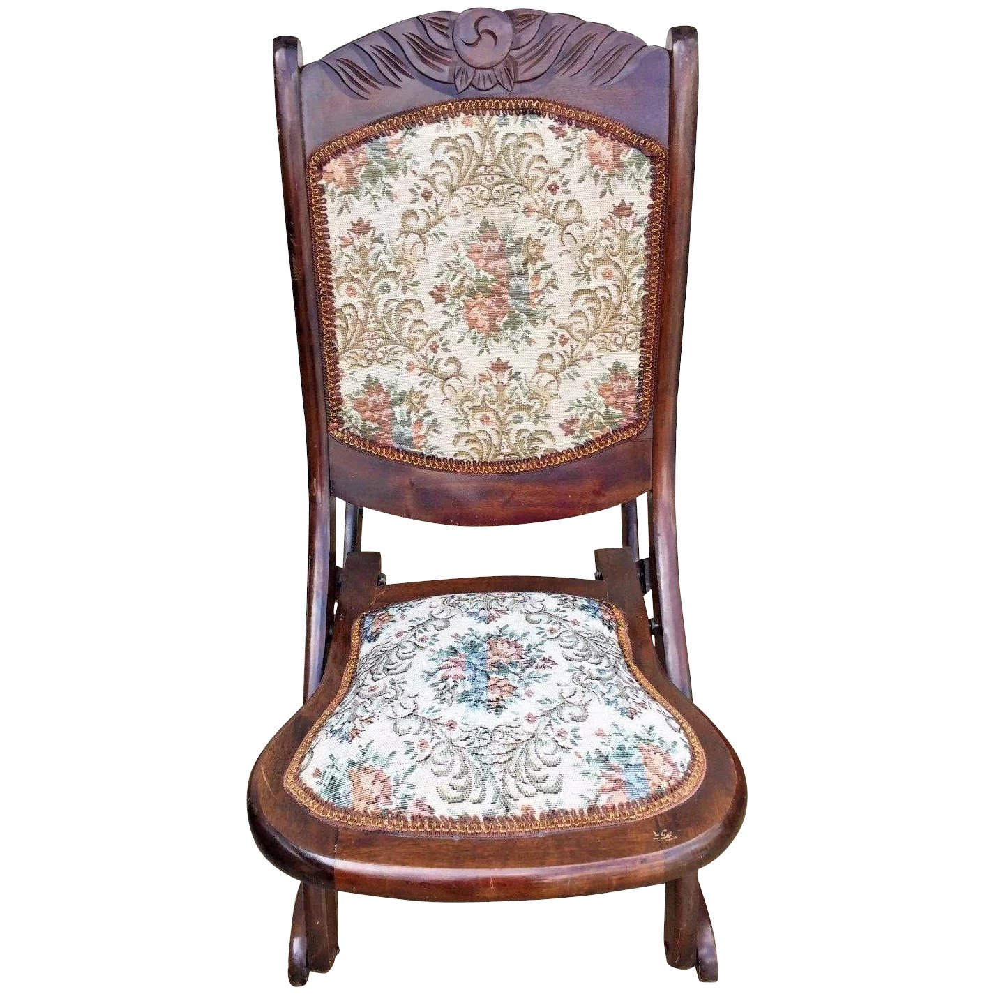Vintage Victorian Style Childs Wood Rocker W Upholstered Seat And Back