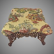 Antique Embroidered Empire Style Stool with Cast Iron Base & Legs