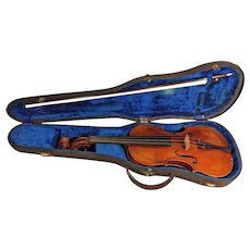 Vintage Josef Metzner Sachsen 1920 Stradivarious Model Violin & Glasser Bow 1 Piece Belly & 2 Piece Back