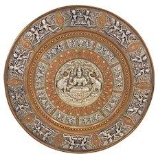 Vintage Sino Tibetan Mixed Metal Charger Raised Relief Detailing