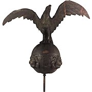 Antique Eagle and Globe Weather Vane or Flagpole Topper w/ Lion Heads