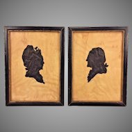 Antique Silhouettes of George and Martha Washington in Frames Artist Initials JTC