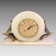 Vtg Art Deco Alabaster/Onyx Electric Mantel Clock Whitehall-Hammond Co Not Running