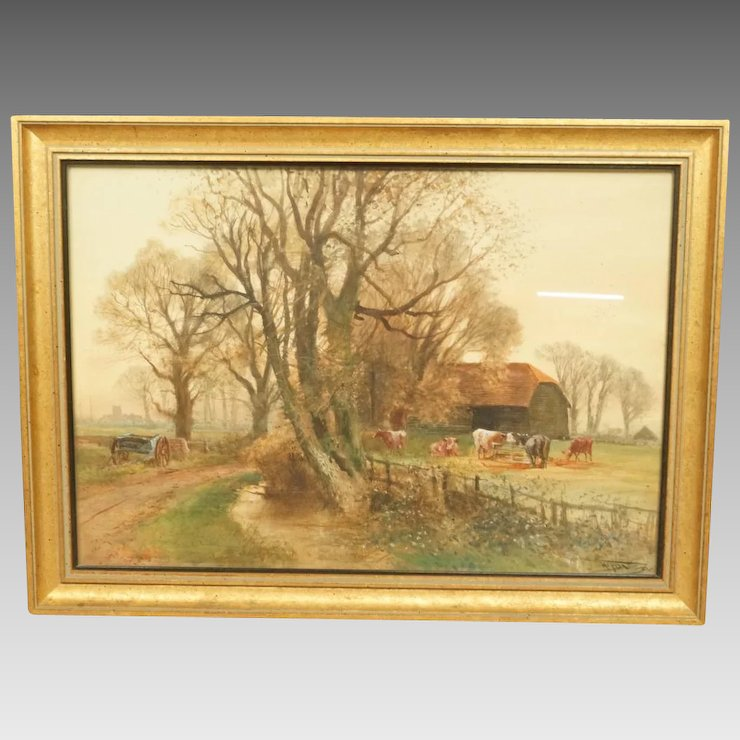Henry Charles Fox Farm Scene Watercolour Painting Signed and Dated ...