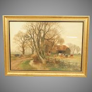 Henry Charles Fox Farm Scene Watercolour Painting Signed and Dated Newman Gallery Label Philadelphia PA 1910s
