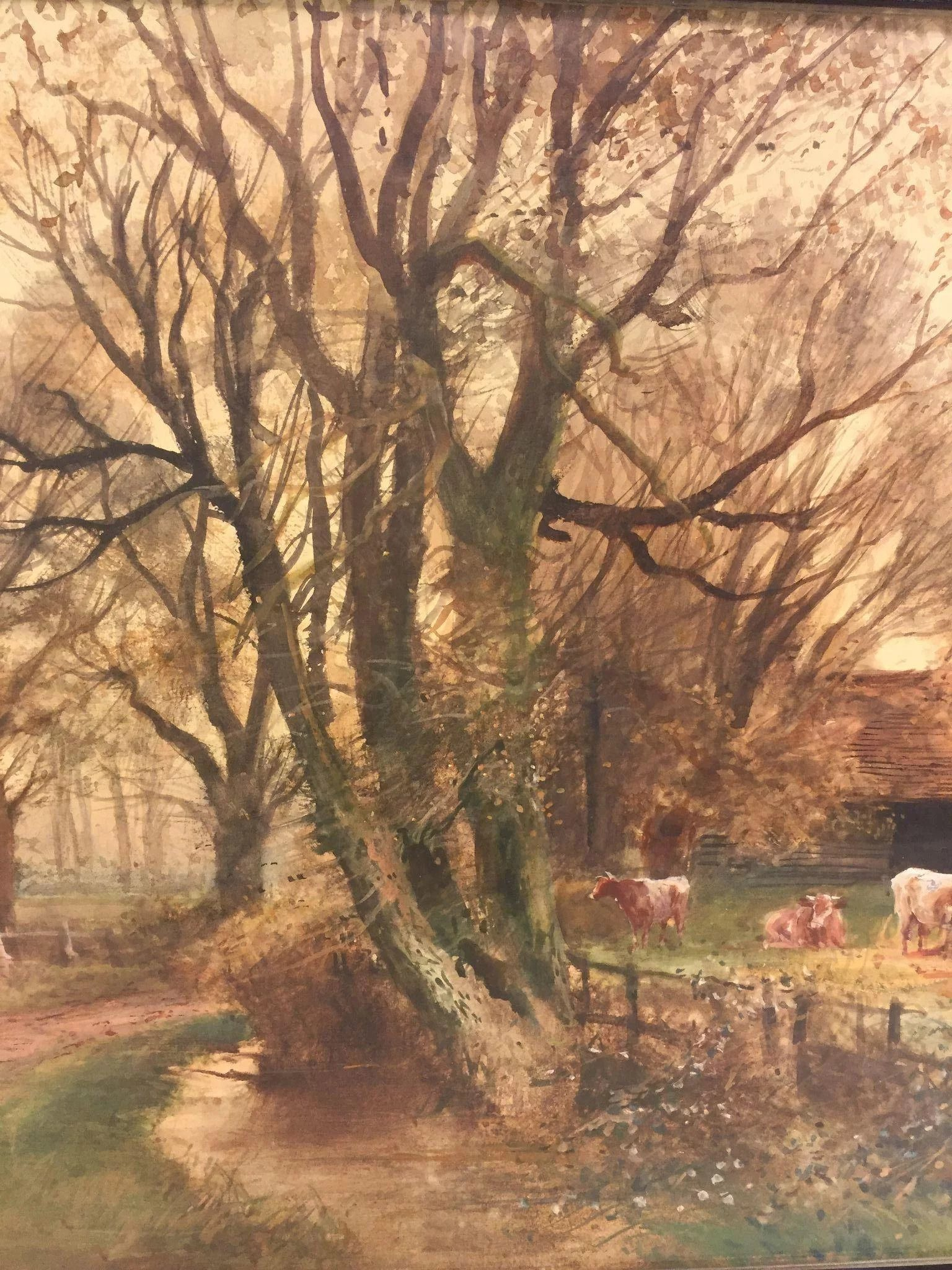Henry Charles Fox Farm Scene Watercolour Painting Signed
