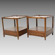 Pair of Baker Milling Road Mahogany Side Tables w/ Shelf and Drawer Scalloped Top
