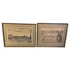 Pair of Antique Architectural Engravings in Frames Under Glass Royal Palace of Placentia and Devonshire Square  One of Engravers is Sutton Nicholls
