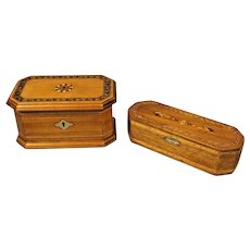 Pair of Inlaid Wood Boxes 1) Star Medallion Top Humidor & 2) Lined Jewelry Case