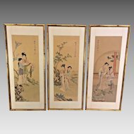 Kunisada 3 Japanese Wood Block Prints on Silk Omihatsuke Awazu in Frames