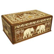 Vintage Inlaid Wood Box Images of Taj Mahal Elephants Lions Etc