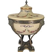Antique Pairpoint Urn Lamp Reverse Painted Glass w/ Brass Lacquered Metal Base Lion Figurines  Working Condition