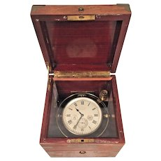 Antique Pre - WWI Waltham Chronometer Nice Wood Case Brass Corner Protectors Runs!  Inner Box Only #326 of 16,500 Made