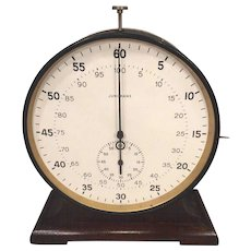 "Large Junghans Stop Watch w/ Wood Base Running Condition 7.5"" Face"