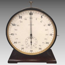 """Large Junghans Stop Watch w/ Wood Base Running Condition 7.5"""" Face"""