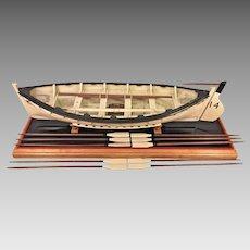 Vintage Wood Model of HMS Titanic Life Boat #14  on Stand Oars, Mast,Sails, Supplies & Rudder