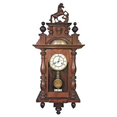 Antique FMS Friedrich Mauthe Schwenningen Clock Vienna Regulator Unique Large Bell Strike   with Horse Finial & Topper   Runs &  Strikes Germany