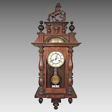 Antique FMS Friedrich Mauthe Schwenningen Clock Vienna Regulator Unique Large Bell Strike   with Horse Finial & Topper   Runs &  Strikes Germany