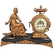 Antique New Haven Spelter Figural Clock Woman and Bird Open Escaptement Slate Base Not Running Project Clock for Someone Out There