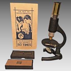"Small Microscope in Original Box Japan  ""Key to Hidden Wonders"""