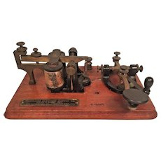 Antique Telegraph/Morse Code Key & Sounder Station  JH Bunnell & Co New York  4 OHMs Maryland Electric Supply Company   Wood Base Baltimore, MD