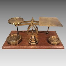 Vintage Balance Scale Brass Pans and Weights Wood Base  English Made