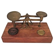 Antique Balance Scale with Brass Pans & Wood Base  w/ 2 Weights