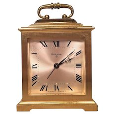 Vintage Bulova Shelf Clock with Gold Case Running 8 Day Movement Swiss Made G 2251