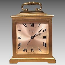 Vintage Bulova Shelf Clock with Gold Case Running 8 Day Movement Swiss Made G 2251