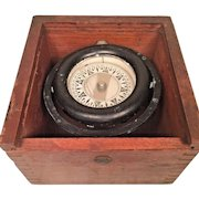 Vintage Nautical Compass in Fitted Wood Case  Wilcox & Crittenden