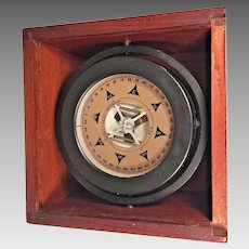 Vintage Nautical Compass in Fitted Wood Case w/ Sliding Lid  John E Hand & Sons   Philadelphia PA & Baltimore MD
