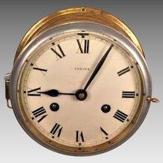 Vintage Endura Brass Ship's Bell Clock Running &  Striking Inconsistently Germany
