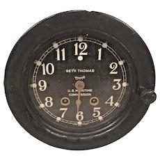 "Seth Thomas US Maritime Commission Ship's Bell Clock 7-5/8"" Metal Case Runs & Strikes"